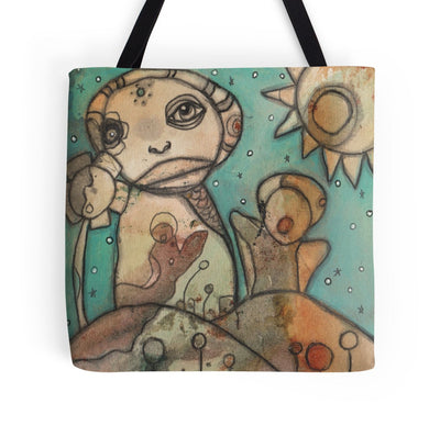 mixed media art tote bag happy place