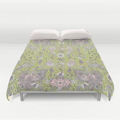 green-pink-hand-drawn-floral174654-duvet-covers