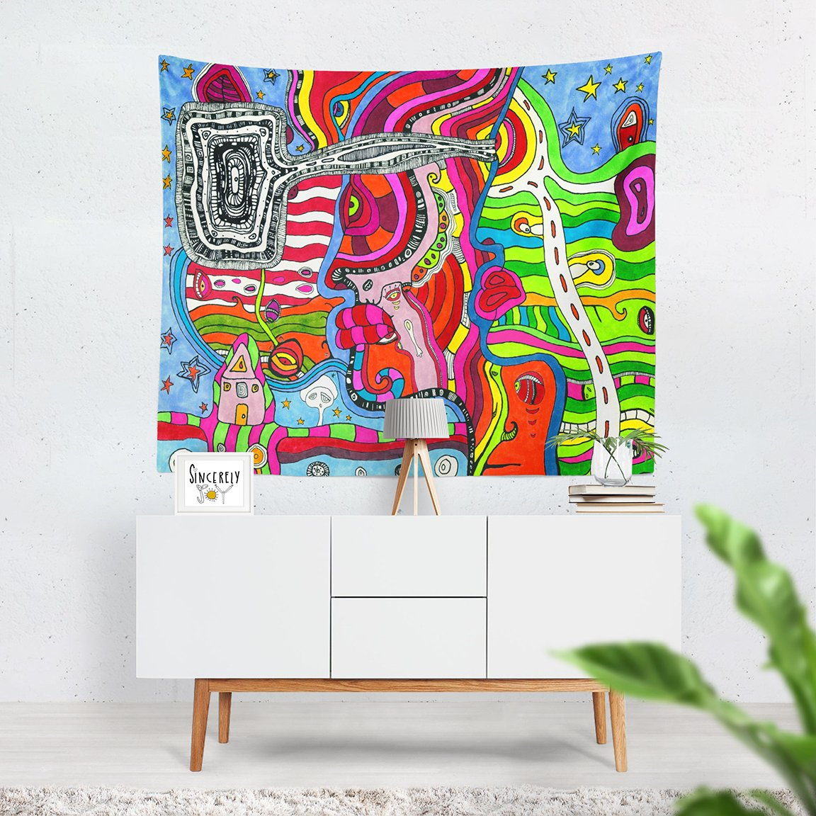 Psychedelic Mixed Media Tapestry Multi-Directional