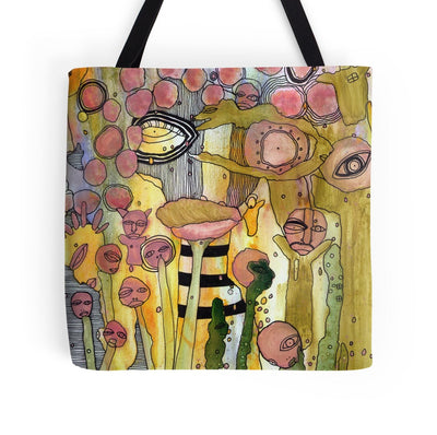abstract face tote bag