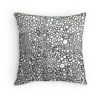 black white bubbles throw pillows