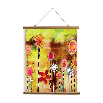 "Whimsical Wood Slat Tapestry ""Garden Party"""
