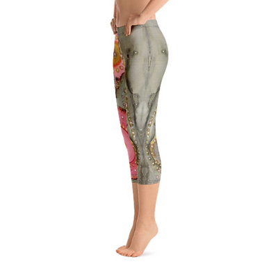 Abstract Capri leggings, Workout Pants 'In the Pink