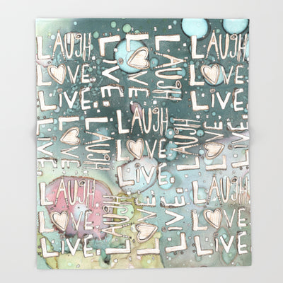 'Laugh. Love. Live. Organic in Blue' Fleece Blanket