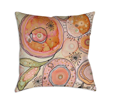 Floral Throw Pillow 'Teal Birds of a Flower 02'