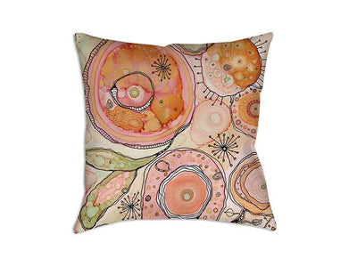 Floral Throw Pillow 'Teal Birds of a Flower 04'