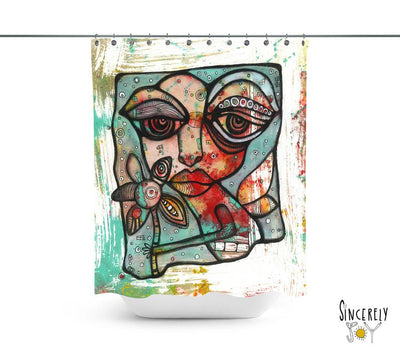 Abstract Mixed Media Shower Curtain 'Mine'