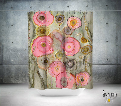 Colorful Abstract Shower Curtain 'Pink Matter'
