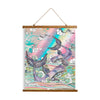 "Whimsical Wood Slat Tapestry ""Plum Purple Whales"""