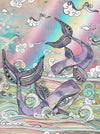 Whimsical Whale Art Shower Curtain 'Plum Purple Whales'