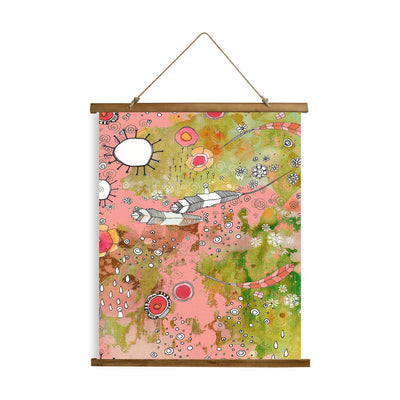 "Whimsical Wood Slat Tapestry ""Pink Feathers, Flowers, Showers"""