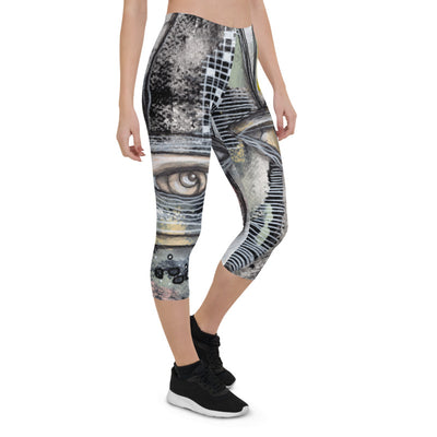 Abstract Capri leggings, Workout Pants 'Written in the Stars""