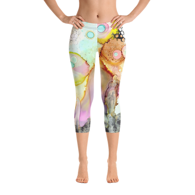 Abstract Capri leggings, Workout Pants 'Over the rainbow'