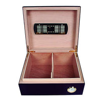 open humidor showing spanish cedar divider, humidifier and hygrometer