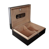angled view of pura vida humidor showing spanish cedar divider