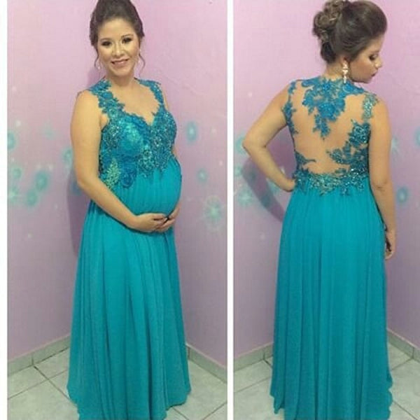 New Pregnant Women Prom Dress Green Appliqued Beaded Lace Long ...