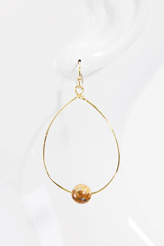 Tear Drop Open Metal Stone Earring