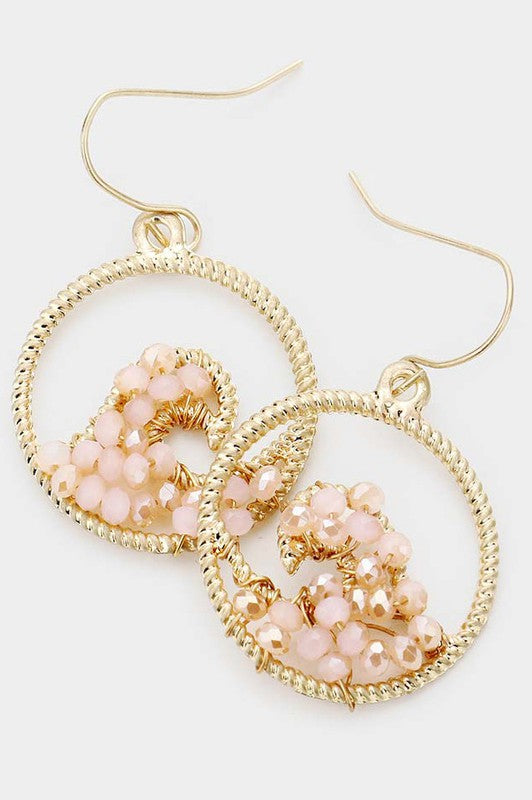 Peach Faceted Bead Wave Textured Metal Dangle Earrings