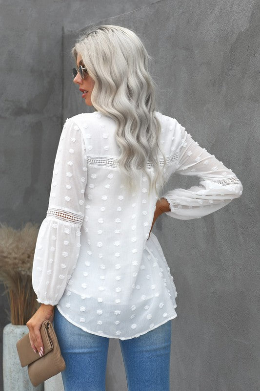 Lace Puff Sleeve Polka Dot Blouse