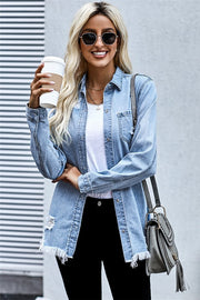 Faded Blue Ripped Denim Jacket