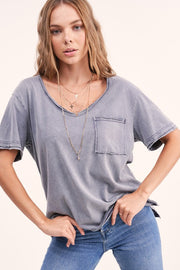 INDIGO COTTTON DYED TOP