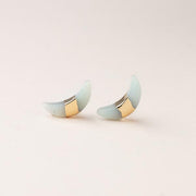 Crescent Moon Stud - Amazonite/Gold