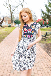 LEOPARD EMBROIDERED DRESS