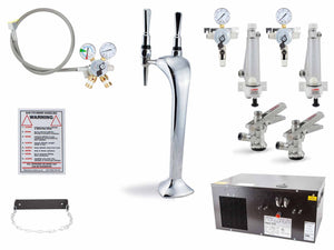Chrome Twin Boa Font Keg Beer/Cider Dispense Starter Kit