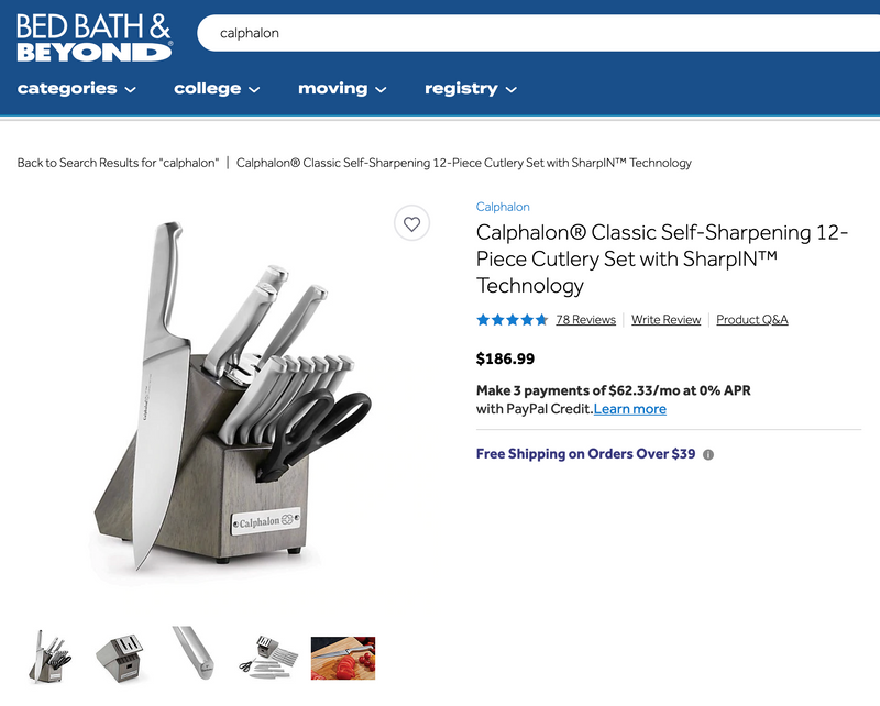 Calphalon 14 Piece Self-Sharpening Cutler Knife Block Set Amazon $199.99 Your Cost $89.99 Free Shipping