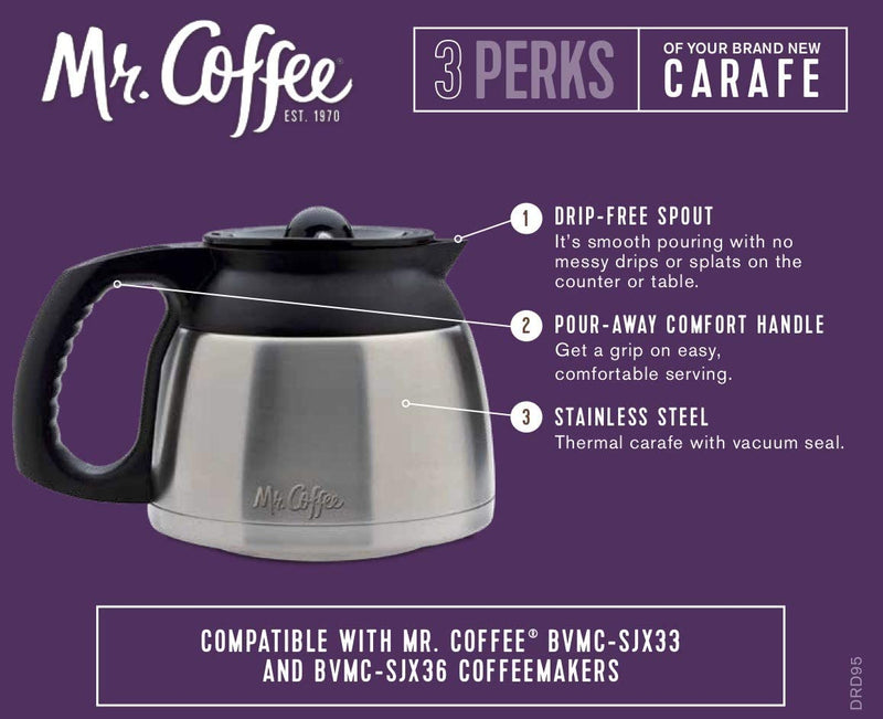 Mr. Coffee 8-Cup Stainless Steel Double-Walled Thermal Carafe