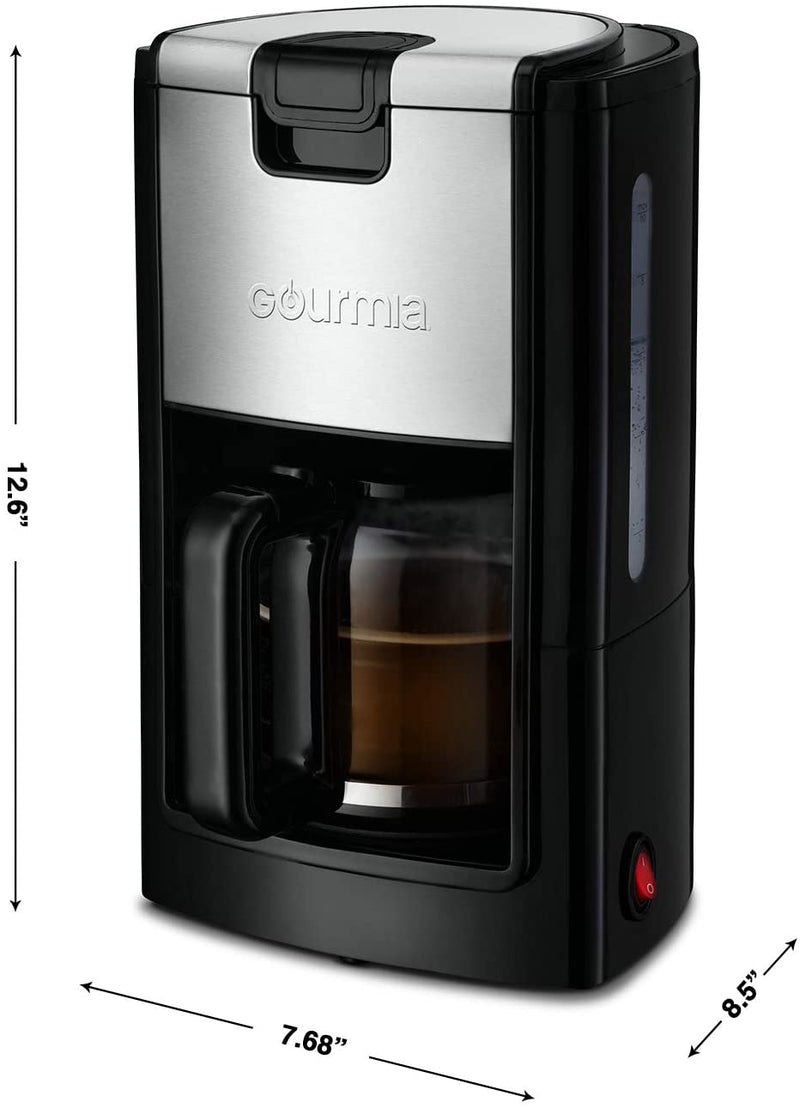 Gourmia GCM1835 One Touch 10 Cup Coffee Maker with Built in Warming Plate, Water Level Gauge, and Reusable Filter