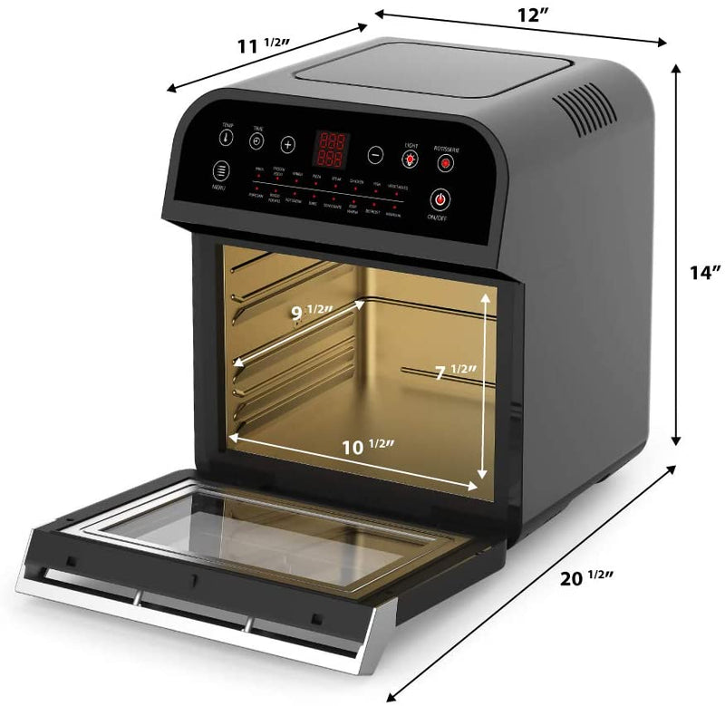GoWISE USA Deluxe 12.7-Qt. 15-in-1 Electric Air Fryer Oven with Rotisserie and Dehydrator