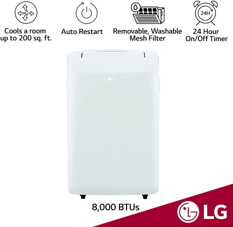 LG 8,000 BTU (5,500 BTU DOE) Portable Air Conditioner, with Dehumidifier Function and LCD Remote, LP0817WSR