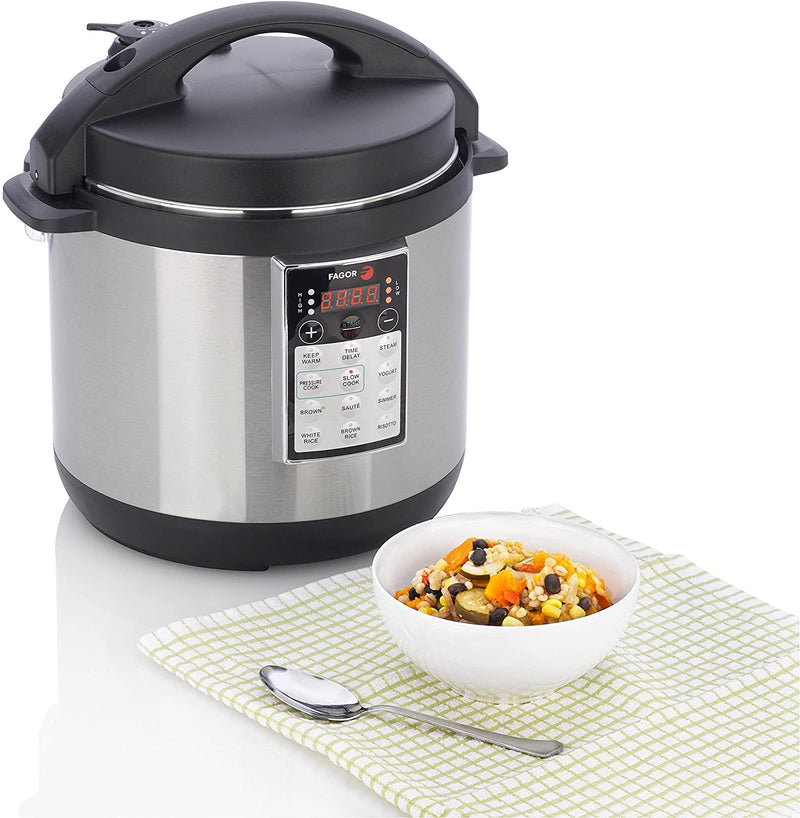 Fagor LUX Multi-Cooker, 6 quart, Electric Pressure Cooker, Slow Cooker, Rice Cooker, Yogurt Maker and more, Silver