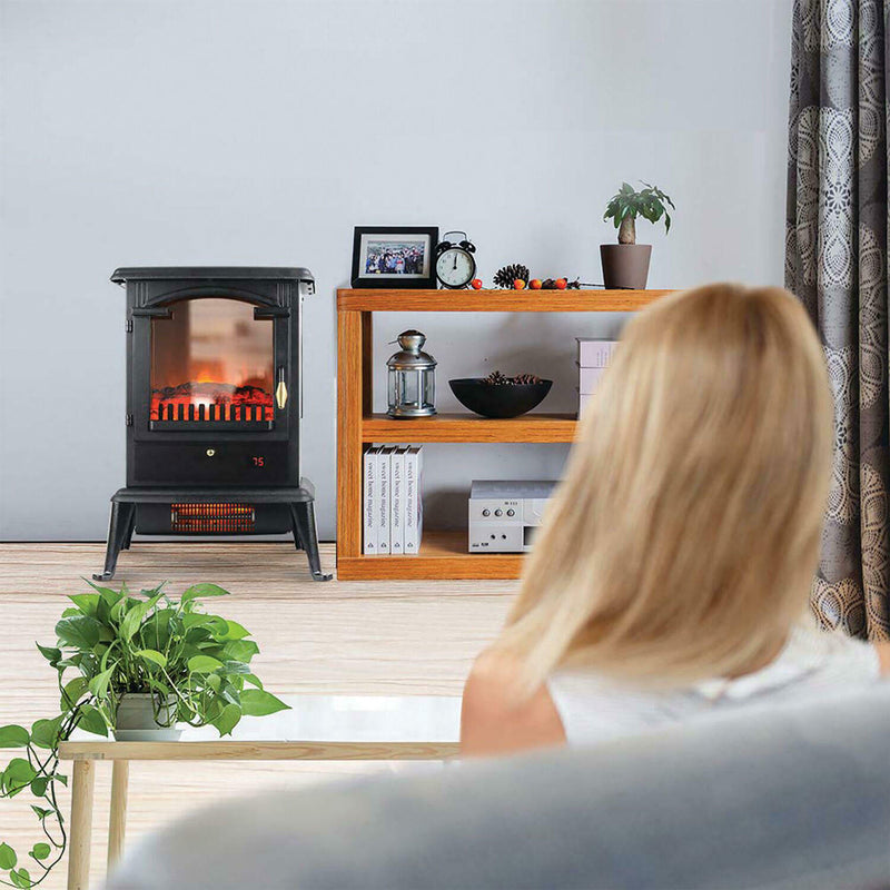 "Warm-Living 1,500W 17"" Freestanding Infrared Stove Heater with Remote, Open Box"