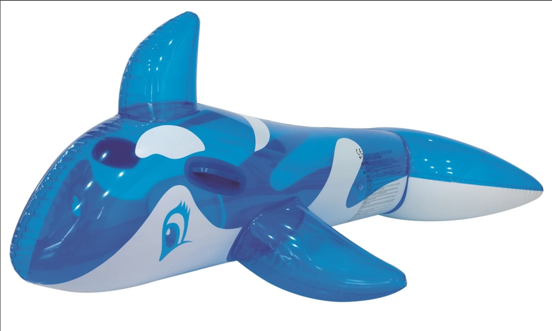 Rhino Master Play Transparent Whale - Inflatable Ride-on Pool Float Blue