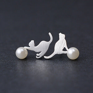 Sterling Silver Cat Earrings With Pearls
