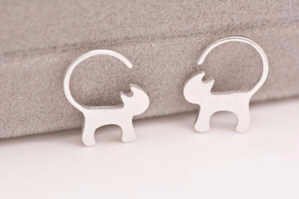 Long Tailed Silver Cat Earrings