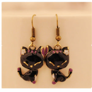 Black Vintage Bronze kitty Cat Earrings