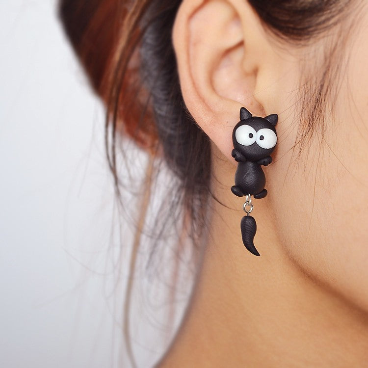 Black Dangler Convertible Cat Earrings