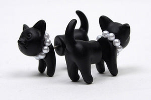 Kitty With Pearl Beads Cat Earrings
