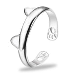 Paws And Ears Silver Cat Ring