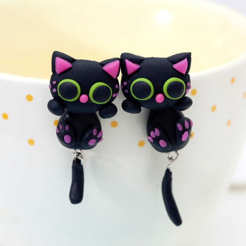 Dangling Clay Convertible Cat Earrings