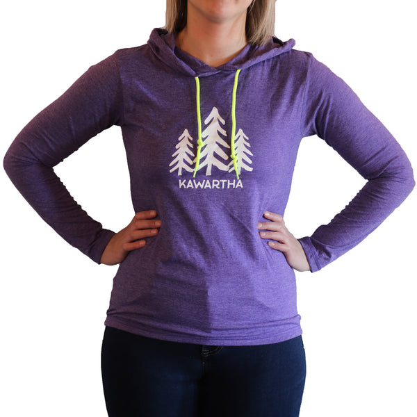 Kawartha Three Trees - Lightweight Long Sleeve Hooded Tee - Purple