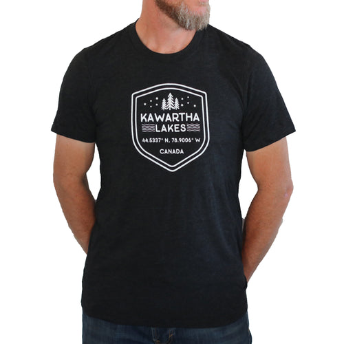 Kawartha Black Unisex Tee - White Shield