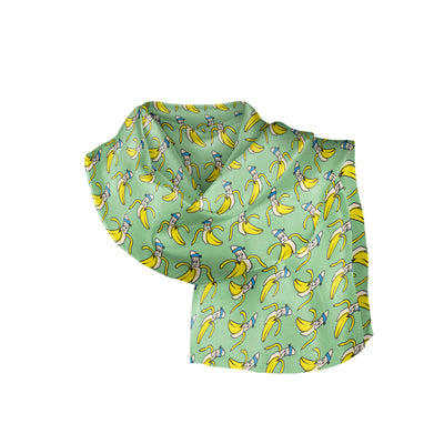 Banana Bandanas Bananaman overripe bandana banana logo pattern green folded photo