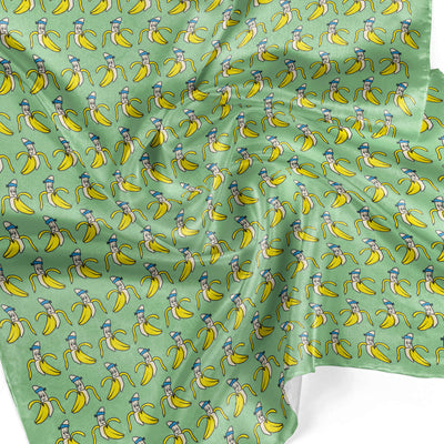 Banana Bandanas Bananaman overripe dog bandana banana logo pattern green detail photo