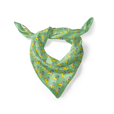 Banana Bandanas Bananaman overripe dog bandana banana logo pattern green folded photo