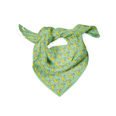 Banana Bandanas Bananaman dog bandana banana logo pattern green folded photo