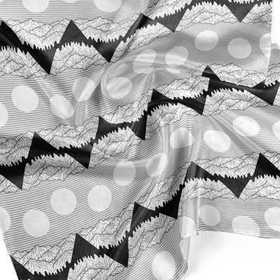 Banana Bandanas Big Pointy Rocks overripe bandana mountain range hiking bandana illustration black and white detail photo